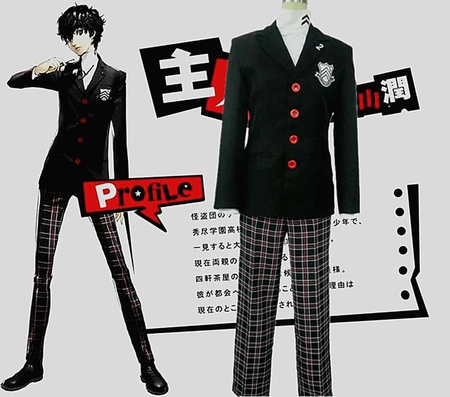 d614ddb59b7ea Halloween Christmas Persona 5 Costume Protagonist Cosplay P5 New Man Suit  School Uniform Party Blazer Coat Pants