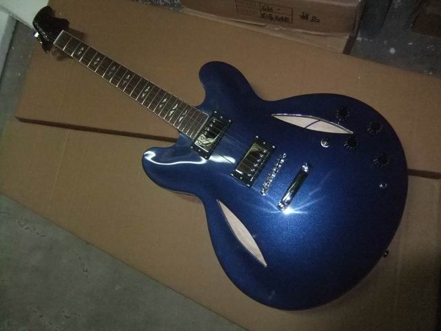 Wholesale Cibson  Dave Grohl Signature Electric Guitar Semi Hollow Body In Matel Blue 110125 wholeslale dave grohl dg335 es 335 6 string electric guitar with great logo es 335 in white 100913