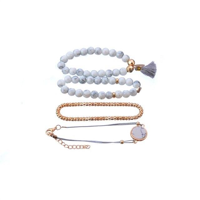 4 Pcs/ Set Bohemian charm bead Bracelet Women tassel Bangles gold heart Bracelets Sets Jewelry Party Gifts 1