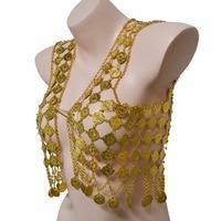 Indian Luxury Gold Metal Bling Mesh Hollow Flower Body Chain Waistcoat Tassel Full Coin Harness Body