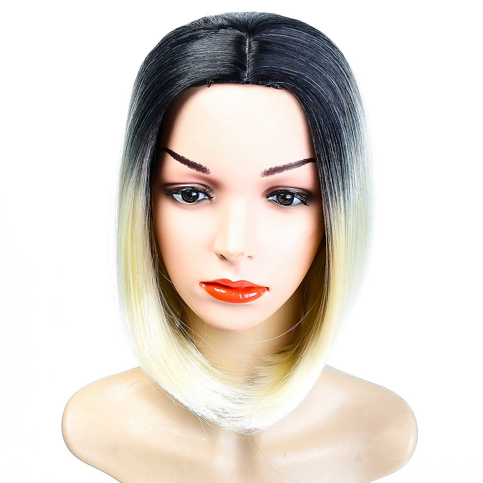 AOSI WIG Short Straight Ombre Blond Bob Wig Black Roots Costume Cosplay Heat Resistant Synthetic Middle Part Bob Wigs for Women