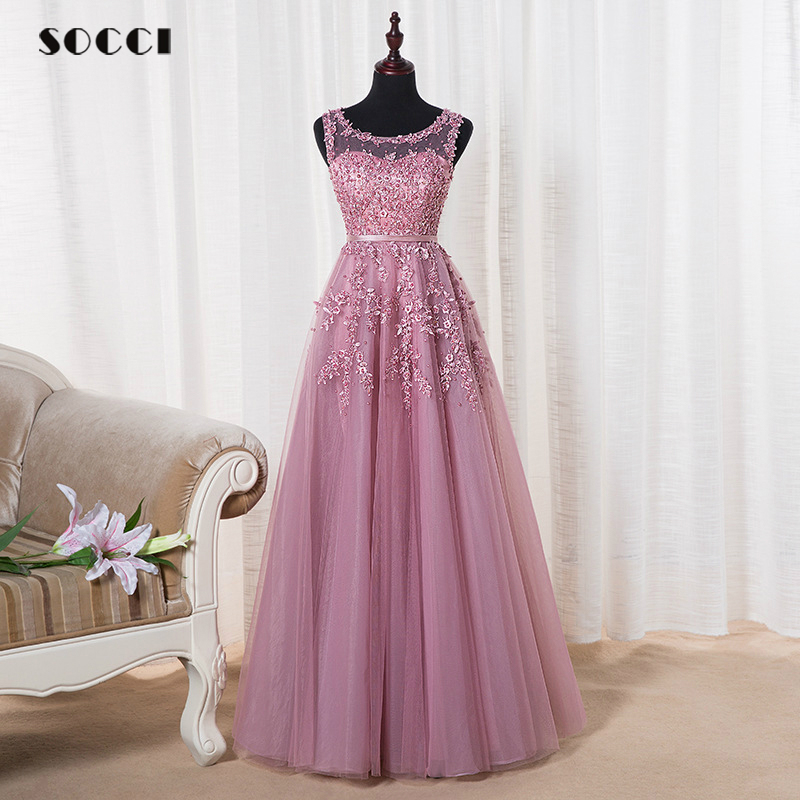 Pink Appliques Lace Tulle Long Evening Dresses 2016 Formal Wedding Party Dress Pearl Beading