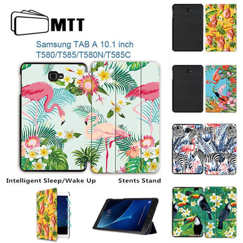 MTT Flamingo Case For Samsung Galaxy Tab A A6 10.1 inch Fold Flip PU Leather Tablet Case Cover 2016 T580 T585 T580N T585N Funda silk texture horizontal flip leather case for galaxy a6 2018 with holder
