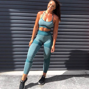 Image 5 - 10sets Wholesale Bulk Seamless Yoga Set Fitness Clothing Sportswear Women Gym Leggings Tights Sports Bra 2Pcs Sports Suits