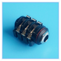 Nut type 6.5mm Stereophonic,double channel audio socket 1/4 6.35mm female Stereo jack audio connector,6Pin