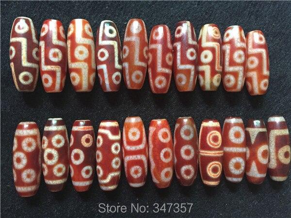 Fengshui AAA Old Dzi 15mm*40mm Mistery Tibetan Dzi 1/3/4/5/6/8/9/10 Eyes Dzi Natural Red Stone Stone Loose Beads Pendant