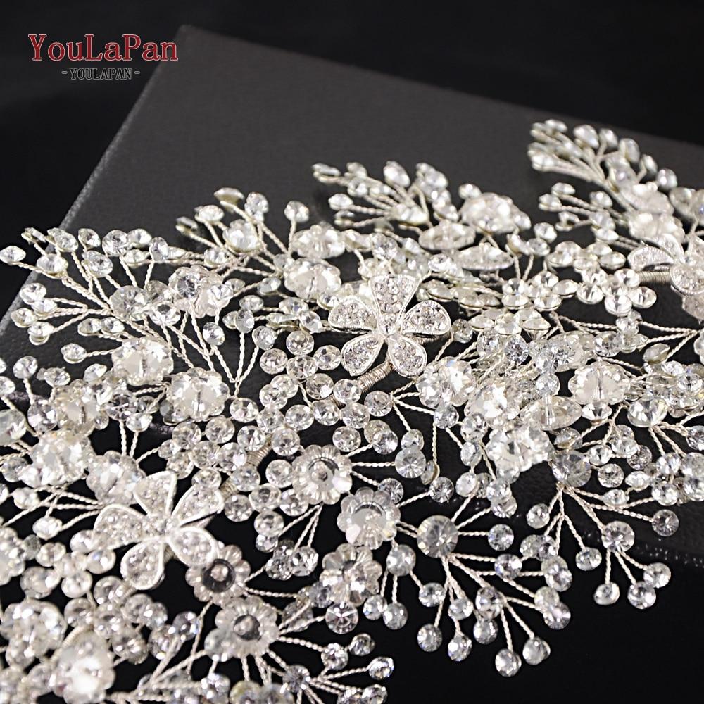 Image 5 - YouLaPan HP240 S Bride tiara handmade crystal wedding hair jewelry fascinators for wedding rhinestone wedding crown Headpieces-in Bridal Headwear from Weddings & Events