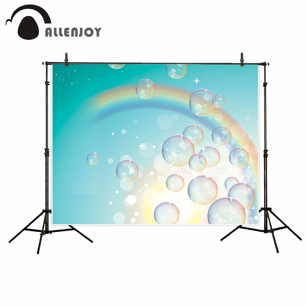 Allenjoy children colorful rainbow bubbles photography backdrops blue sky printed kids baby shower background for photo studio high power led chip 20w uv 360 365nm 20 watt uva purple cob light beads for polymer ink printing and banknote inspectio