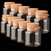 10Pcs Wishing Drifting Glass Bottles Tiny Empty Clear Cork Vials For Party Holiday Christmas Decoration Bottle Various Size