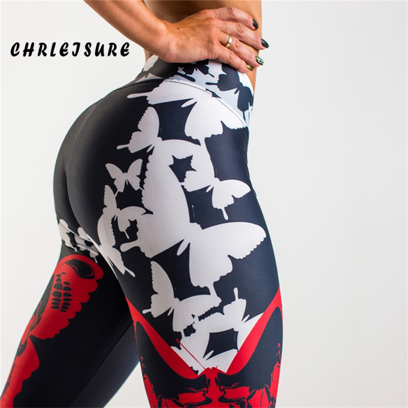 CHRLEISURE Push Up Leggings Women Polyester Butterfly Print Slim Trousers High Waist Work Out Fashion Legging For Girl