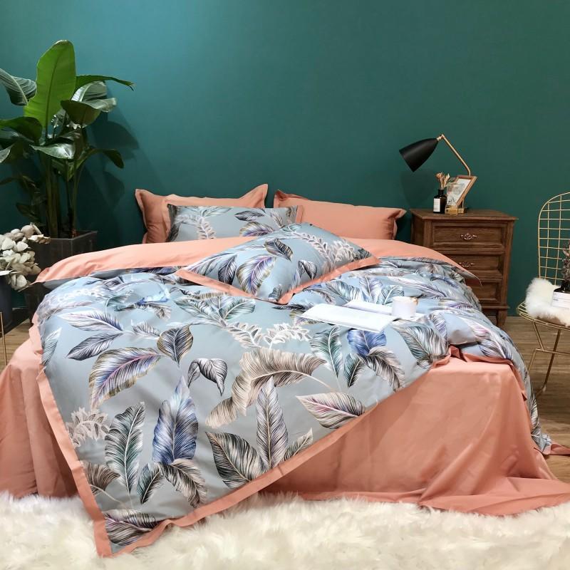 Silky Egyptian cotton 3D Luxury Bedding Set Queen King size Bed set Leaf Birds print Duvet