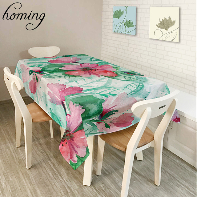 Homing Colorful Tropical Plant Beautiful Flower Light Polyester Pattern Table  Cloth Durable Oil Proof Kitchen
