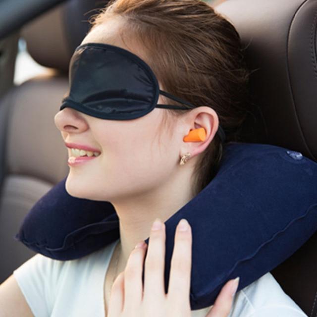 U neck pillow travel pillow Flight Car Pillow Inflatable soft message pillow Neck U Rest Air Cushion+ Eye Mask + Earbuds  1
