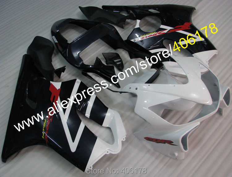 Hot Sales,For HONDA CBR600F4i 01 02 03 CBR600 F4i CBR 600 F4i 2001 2003 White Black motorcycle fairing (Injection molding)