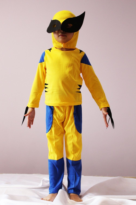 3 - 7 años Fiesta Niños Comic Marvel x-men Disfraz de Halloween, chico Logan roll play clothing amarillo Ropa de manga larga Play