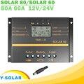 Y-SOLAR 80A 60A PWM солнечный контроллер 12В 24В авто зарядное устройство контроллер ЖК-дисплей Солнечная Панель батарея зарядный регулятор USB 5В