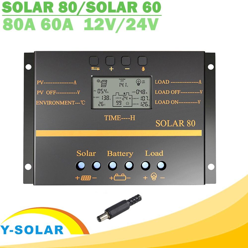 Y-SOLAR 80A 60A PWM regulador Solar 12 V 24 V cargador Auto controlador pantalla LCD Panel Solar regulador de carga de la batería USB 5 V