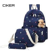 Ciker печати рюкзак женщины холст рюкзак для подростков мода 3 шт./компл. студент сумка mujer ноутбук школьные сумки
