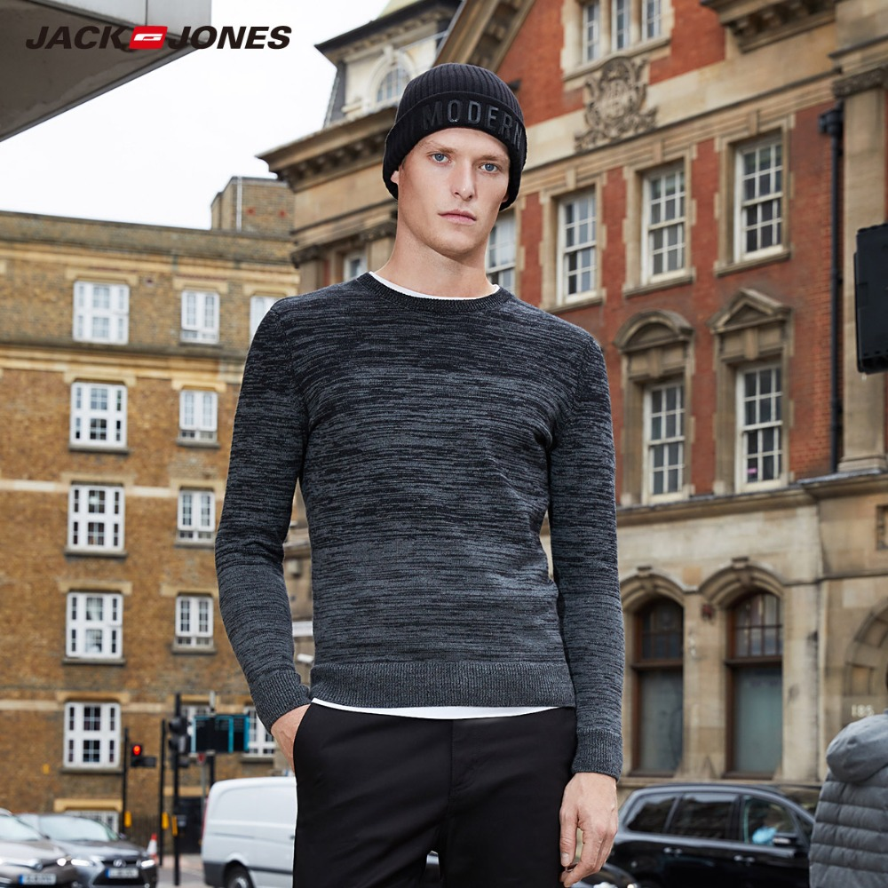 JackJones Men's 100% Cotton Sweater Men's Straight Fit Pullover Top 2019 New Menswear 218324528