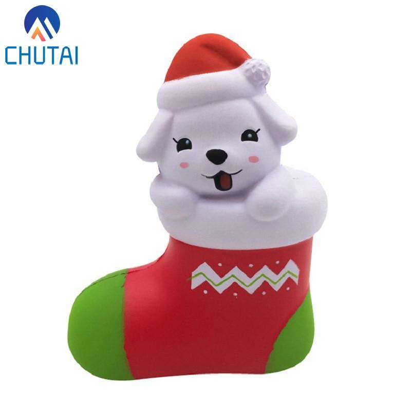 Jumbo Kawaii Christmas Stocking Dog Squishies PU Simulation Squishy Slow Rising Squeeze Toys Baby Child Party Xmas Gift
