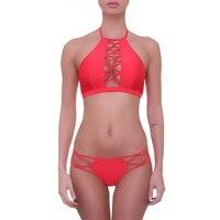 2018 New High Neck Push Up Bikini Set Sexy Bandage Bikinis Women Swimwear Strappy Swimsuit Beach