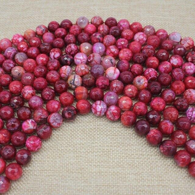 Граненые круглые красные огненные Агаты бусины из натурального