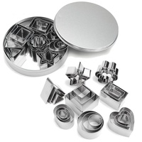 Cookie Cutter 24 Pcs Set Stainless Steel Fondant Cake Baking Mold Round Heart Flower Star Shape