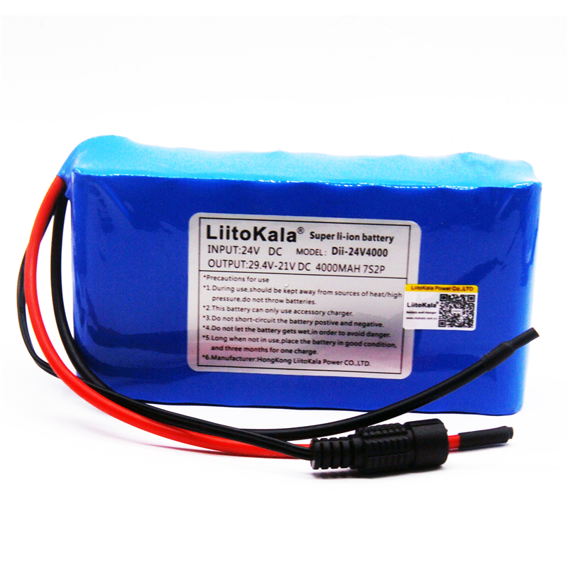 LiitoKala 7S2P <font><b>24V</b></font> <font><b>4Ah</b></font> 18650 <font><b>Battery</b></font> pack 29.4V 4000mAh Rechargeable <font><b>Battery</b></font> Mini Portable Charger For LED/Lamp/Camera image