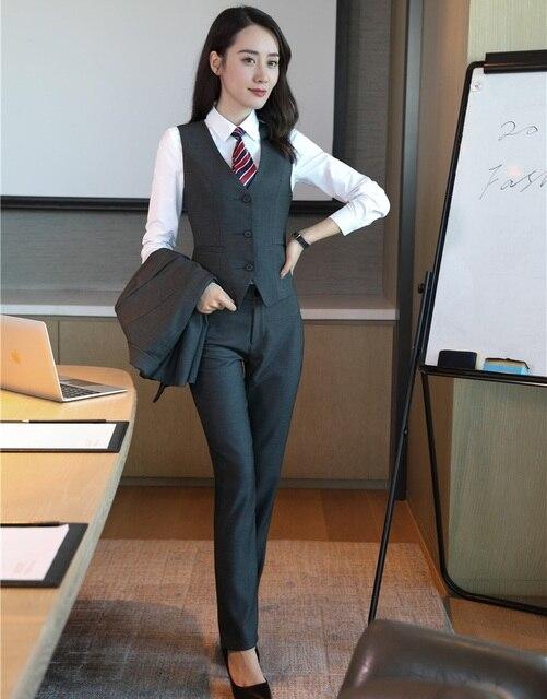 Formal mujeres y chaleco gris 2 unidades pantalones y Top Sets señoras  Oficina uniforme diseños ol da64f10e2aba