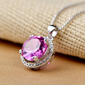 2017 Hot New Luxury  100% 925 Sterling Silver Round Pedant Necklace with AAA  Cubic Zirconia Glittering for Women Precious gift