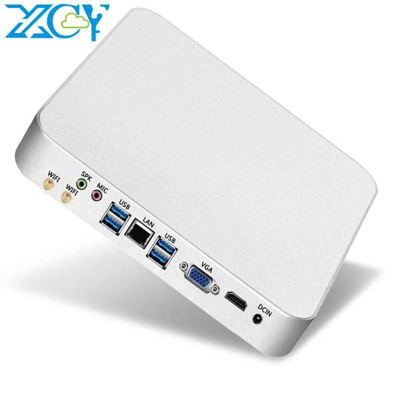 XCY Mini PC Computador Intel Core i7 7500U i5 7200U Processador windows / 10 linux PC para jogos 4K UHD HTPC HDMI VGA WiFi Desktop X26UL Win10 Linux Melhores computadores Minipc Computadores industriais Micro USB3.0 US