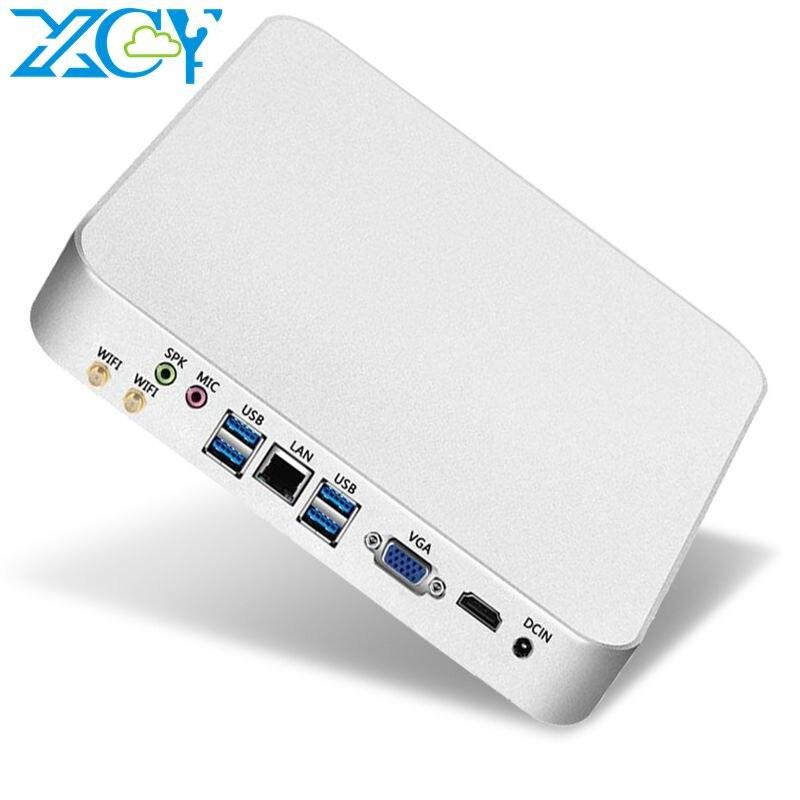 XCY Mini PC Computador Intel Core i7 7500U i5 7200U Processador windows / 10 linux PC para jogos 4K UHD HTPC HDMI VGA WiFi Desktop X26UL Win10 Linux Melhores computadores Minipc Computadores industriais Micro USB3.0 US