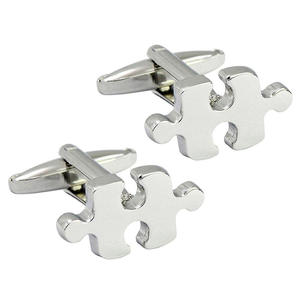 Interesante rompecabezas forma mancuerna bala de plata del metal gemelos, novedad creativa moda gemelos
