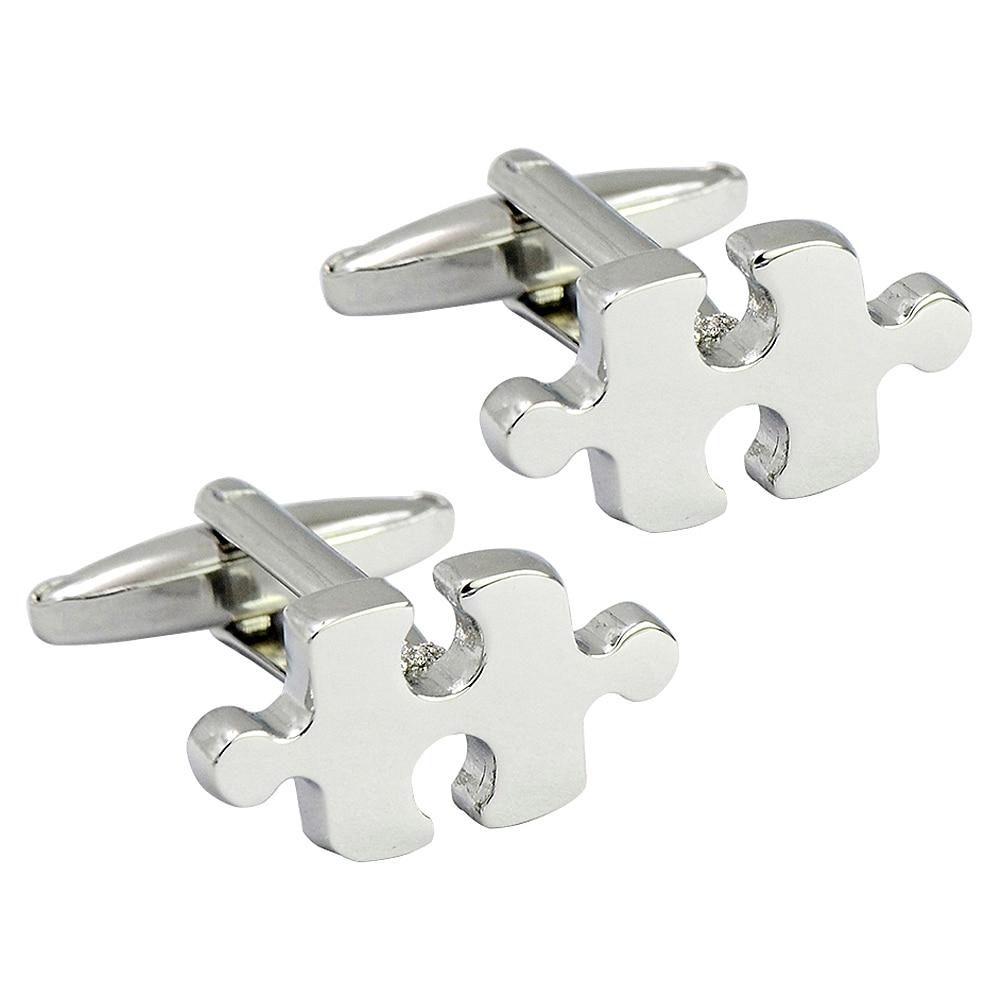 Interesting Puzzle shape silver cufflink metal bullet cufflink, creative novelty fashion cufflink