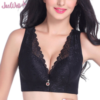 JasWell Women Sexy Seamless Lace Bra Vest Bra Brassiere Wire Free C D E Full Cup