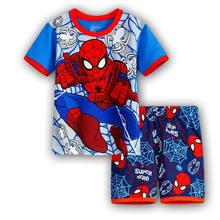 Горячая мультфильм пижамы хлопок Супер Герои Человек-паук Детская наборы  футболки для мальчиков короткие штаны 84da2af1af044