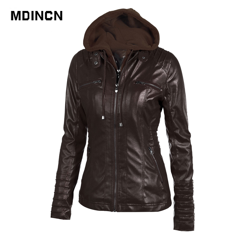 High quality women jacket autumn and winter fashionable removable hat solid color long sleeve zipper   leather   jacket LR3