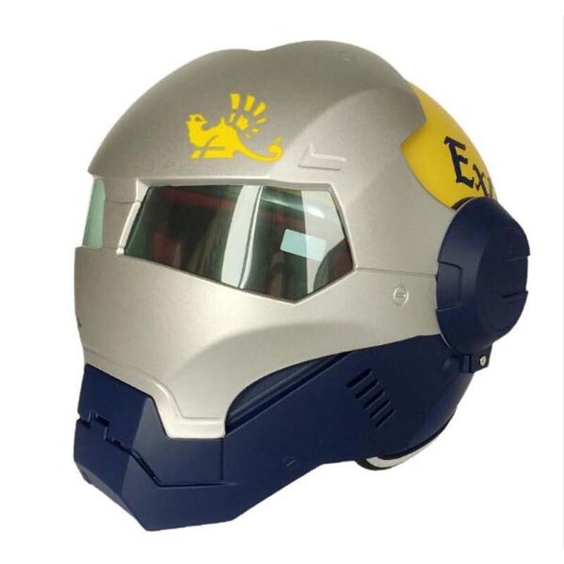 MASEI 610 personnaliser Flip Up moto iron man casque, moto motocross 3/4 masque facial ouvert casque guerrier taille M L XL XXL