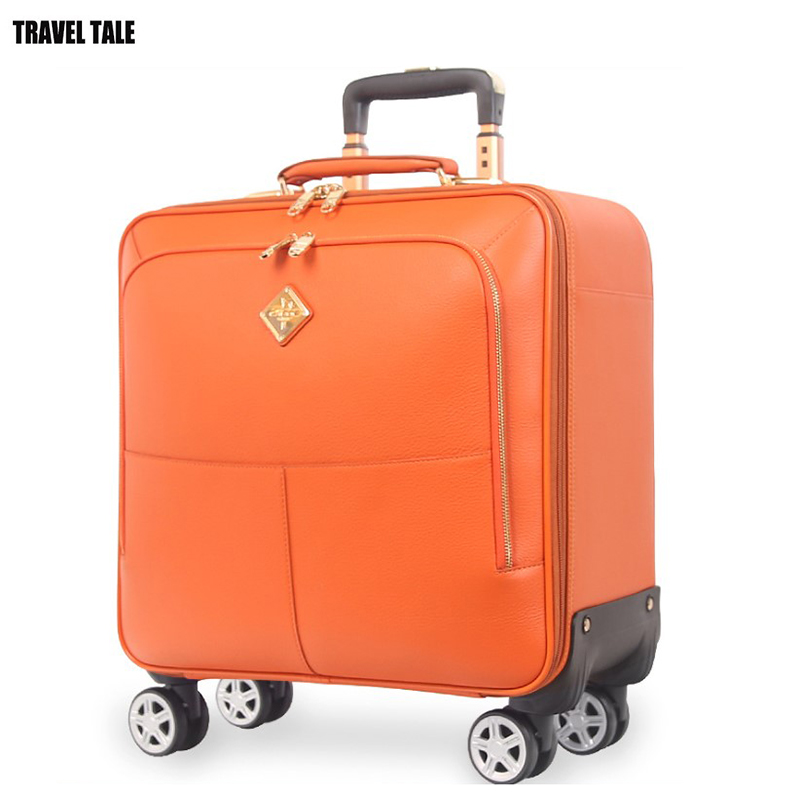 TRAVEL TALE 16 20 inch men genuine leather suitcase checked hand luggage cabin travel bags with