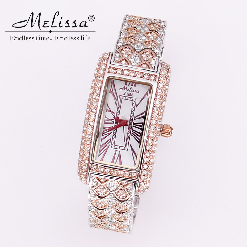 Top Melissa Lady Women's Watch Japan Quartz Fashion Dress Clock Bracelet Rhinestone Luxury Crystal Party Girl's Birthday Gift цена