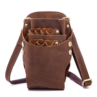 Fanny Genuine Leather Barber Hair Scissor Bag Hairdressing Holster Pouch Holder Case Rivet Clips Bag Phone