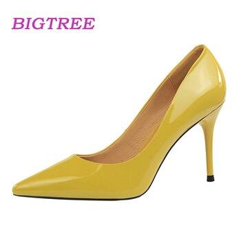 6d632af3 Bigtree marca 2018 Classic Ladies Oficina de tacón alto Bombas scarpin  mujeres de lujo rojo estable negro Tacones San Valentín elegante Zapatos