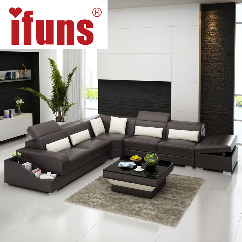 IFUNS L Shape Storage Modern Design Genuine Italian Leather Sectional Sofa  Corner Real Italian Chesterfield Home Furniture (fr) In Living Room Sofas  From ...