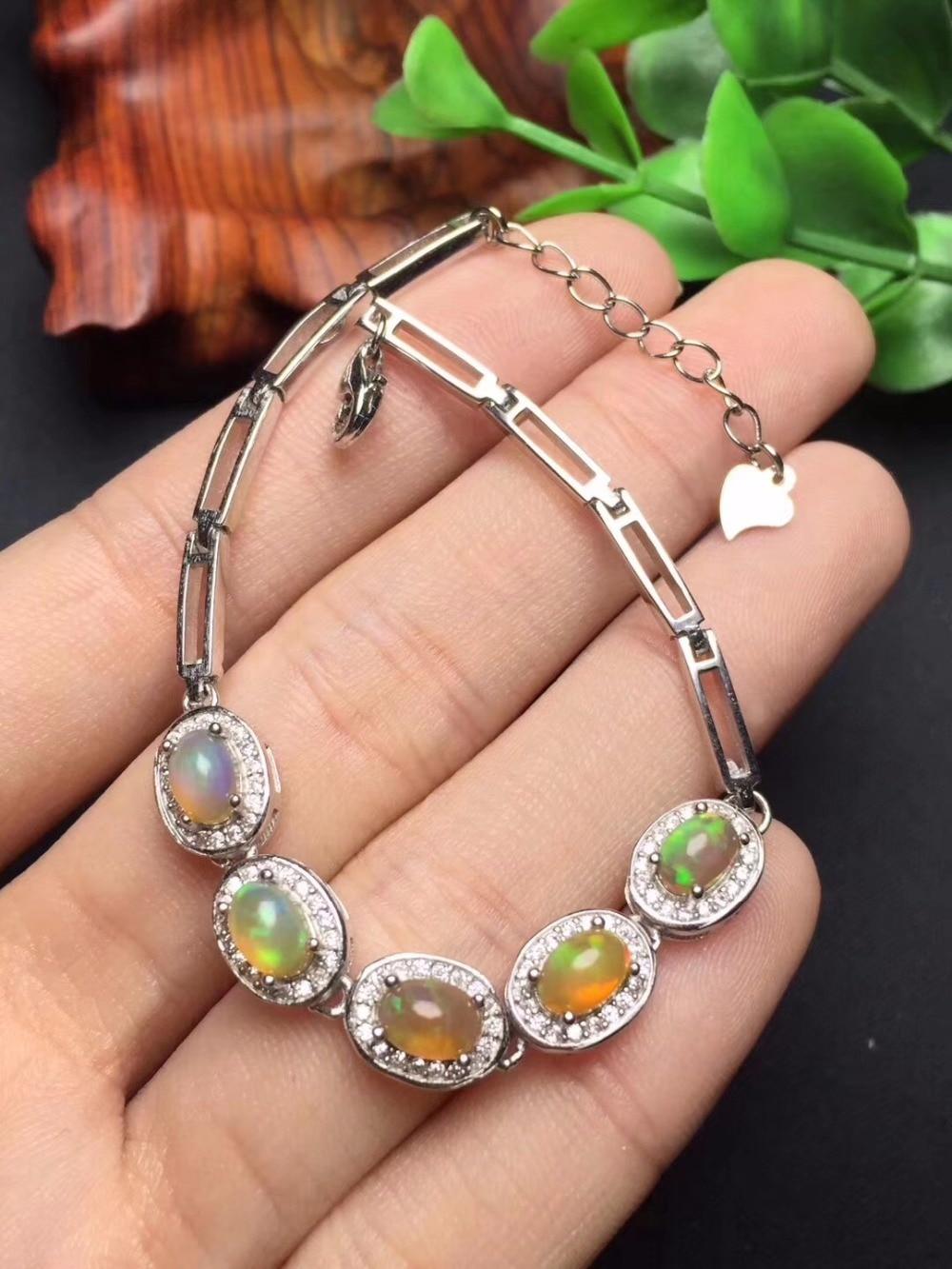 Fine Jewelry Real 925 Steling Silver s925 100% Natural Opal Gemstone Leopard Unisex Bracelets Christmas Gift