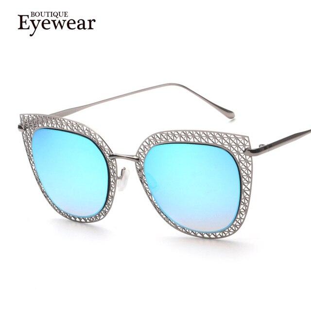 BOUTIQUE de Moda de Nova Marca Mulheres Designer de Alta Qualidade Liga Oco Quadro Aro de Metal Quadrado Do Vintage óculos de Sol Olho De Gato