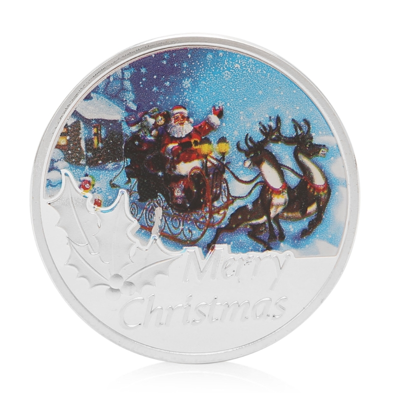 Walking With You Store Christmas Sled Commemorative Coins Merry Santa Claus Silver Plated Commemorative Coin Token Souvenir Art