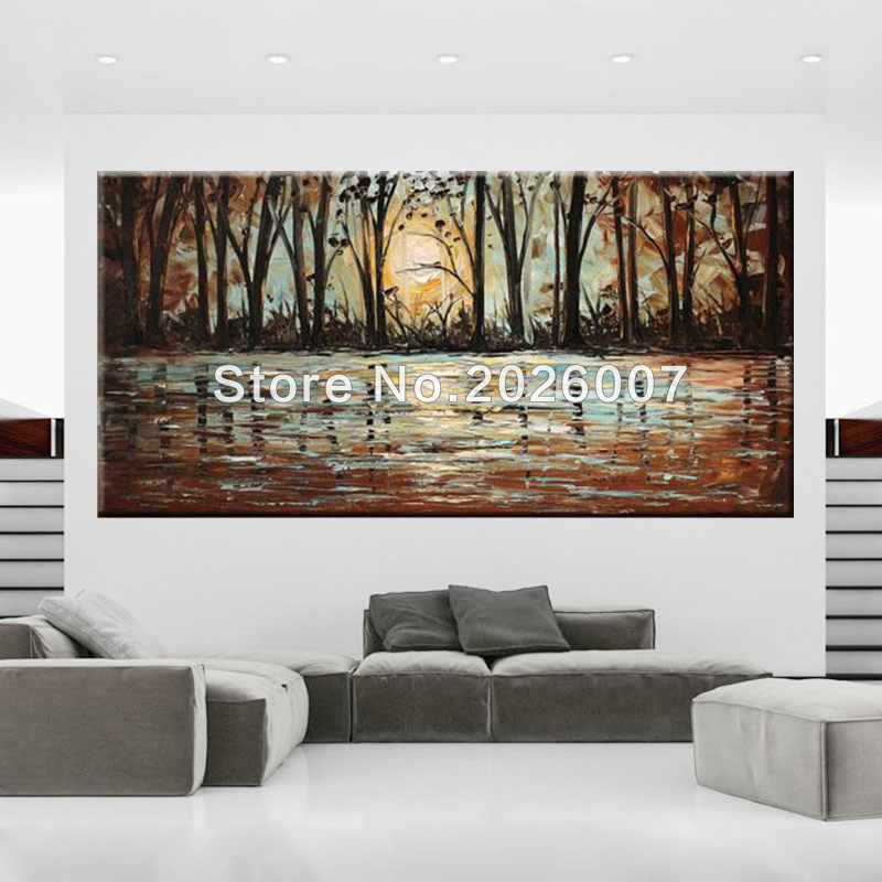 Hand painted Abstract Birch Forest Wall Art Decor Thick Palette ...