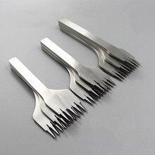 3 ピース/セット 2/5/10 歯プロングレザーは鋼チゼルフレンチスタイル刺すアイアンシャープ革パンチツール 2.7/3.0/3.38/3.85 ミリメートル