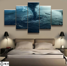 Hot Sales Without Frame 5 Panels Picture Deep Sea Super Disaster Tornado Painting Artwork Wall Art Canvas Wholesale