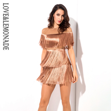 Love Lemonade Nude Round Neck Mesh Material Fringe Decoration Party Dress LM1118